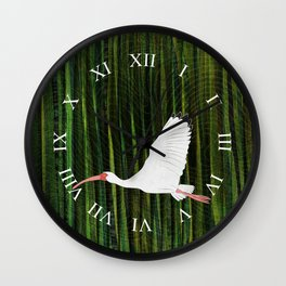 American White Ibis In Flight Wall Clock