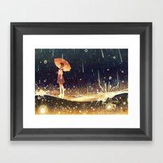shower of meteors Framed Art Print
