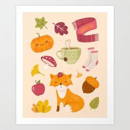 Cozy Fall - Bright Version - Pattern Art Print