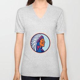 Cheyenne Chief Head Mascot Unisex V-Neck