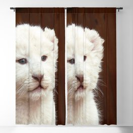 I will hug him and pet him and squeeze him and I will name him George - White Lion Cub Blackout Curtain