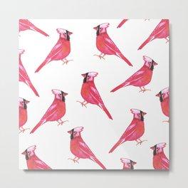 Red Cardinal bird watercolor- Cardinalis cardinalis Metal Print