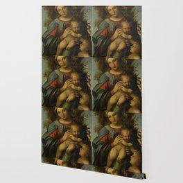 "Antonio Allegri da Correggio ""Madonna and Child with infant Saint John the Baptist"" Wallpaper"