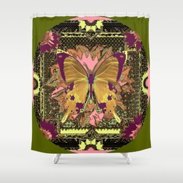 Ornate Mauve Swallow Tailed Butterfly Yellow-Khaki Design Shower Curtain