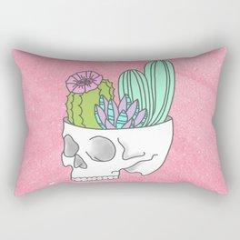 Succulent cactus garden flower pastel skull Rectangular Pillow