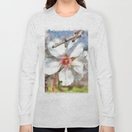 Almond Blossom Study Watercolor Long Sleeve T-shirt
