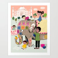 india Art Prints featuring India by ilana exelby