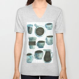 coffees watercolor Unisex V-Neck