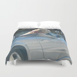 Happy dog in convertible Duvet Cover