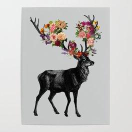 Spring Itself Deer Floral Poster