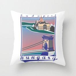 Budapest, Bridge, vintage colors Throw Pillow