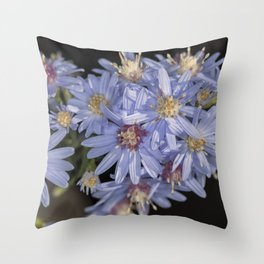 Tiny Blue Wood Aster Flowers Throw Pillow