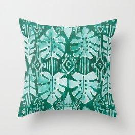 JUNGLE IKAT Green Tropical Monstera Throw Pillow
