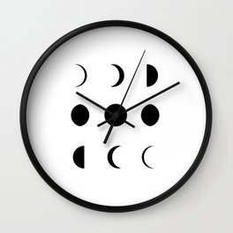 Moon Phases Lunar Cycle Black And White Wall Clock