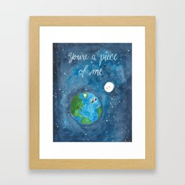 Piece of Me Earth and Moon Watercolor Framed Art Print