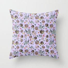 Pretty Sloth Pattern Throw Pillow