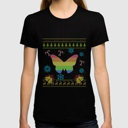 LGBT Rainbow Flag Butterfly Christmas Ugly Shirt Sweater T-shirt