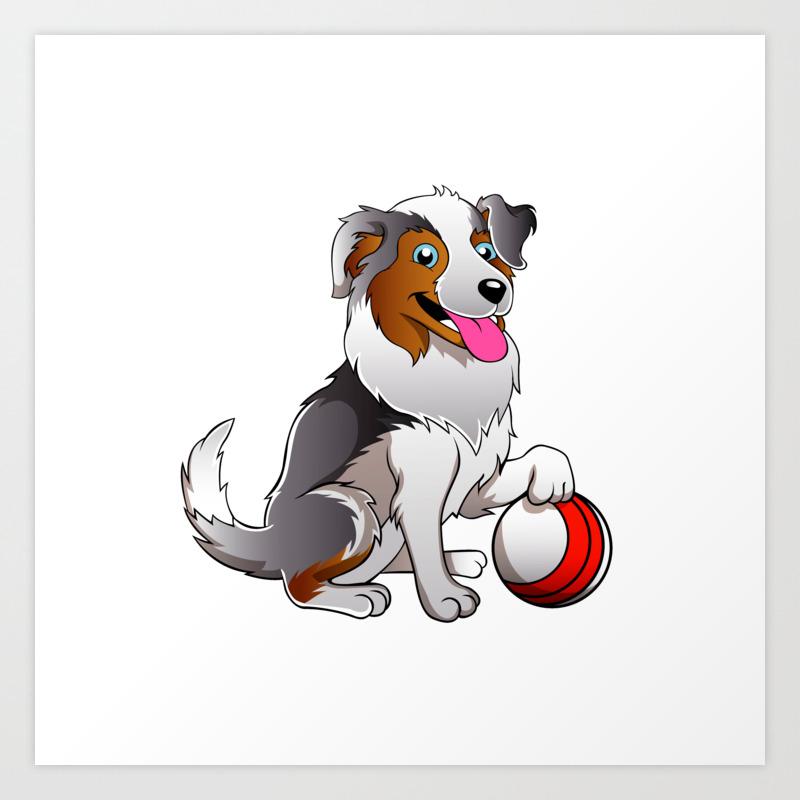 Cartoon Dog With Ball Art Print By Marios Society6