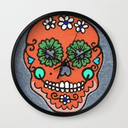 Dia De Los Muertos Mexican Sugar Skull Orange Wall Clock