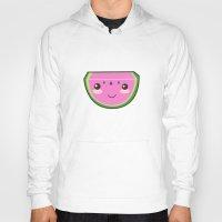 kawaii Hoodies featuring Kawaii Watermelon by Pati Designs & Photography
