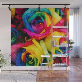 Geometric Multicolor Roses Wall Mural