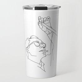 Jean-Luc Godard minimal line drawing Travel Mug
