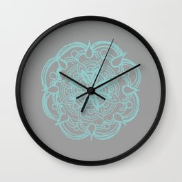 Mint Gray Romantic Flower Mandala #4 #drawing #decor #art #society6 Wall Clock