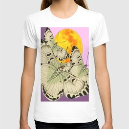 GOLDEN MOON MOTHS ON PUCE & PINK T-shirt