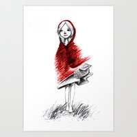red hood Art Prints featuring Red Hood by Chawakarn Khongprasert