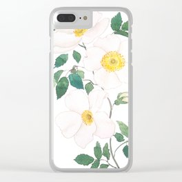 white wild Rosa rubiginosa watercolor Clear iPhone Case