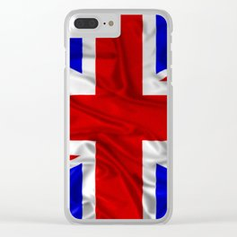 Wrinkled Union Jack Flag Clear iPhone Case