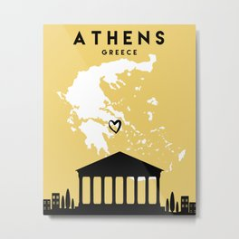 ATHENS GREECE LOVE CITY SILHOUETTE SKYLINE ART Metal Print