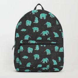 Indian Baby Elephants Black/Mint Backpack