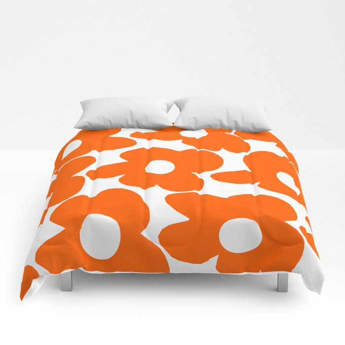 Orange Retro Flowers White Background #decor #society6 #buyart Comforters