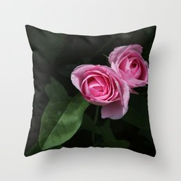 Pink and Dark Green Roses on Black Throw Pillow