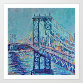 Manhattan Bridge - Palette Knife Urban City Landscape bu Adriana Dziuba Art Print