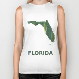 Florida map outline Deep moss green watercolor Biker Tank