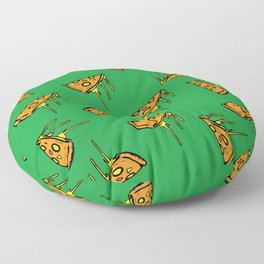 Pepperoni Pizza Dripping Cheese by the Slice Pattern (green) Floor Pillow