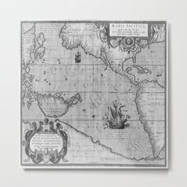 Old World Map print from 1589 Metal Print