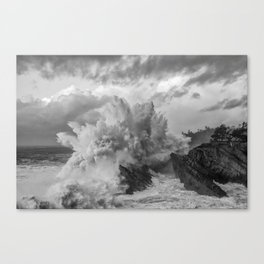 Crashing Waves - Black and White Canvas Print