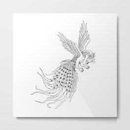 Simorgh or Simurgh Flying Drawing Metal Print