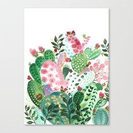 Watercolor Cactus Canvas Print