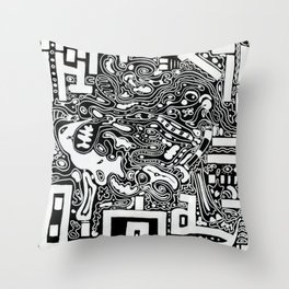 Organic Memories of An Urban Elephant Throw Pillow