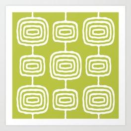 Mid Century Modern Atomic Rings Pattern 771 Green Art Print