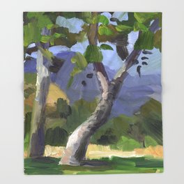 BETTE DAVIS PARK, plein air landscape by Frank-Joseph Paints Throw Blanket