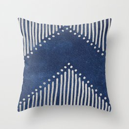 Indigo Deco Chev Throw Pillow