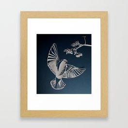 Cedar Waxwing Paper-Cut Framed Art Print