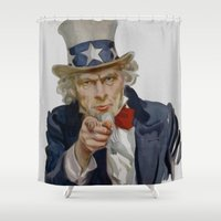 sam smith Shower Curtains featuring Uncle Sam by GoldTarget