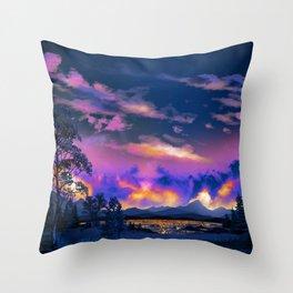 Night Sky Sunset Throw Pillow