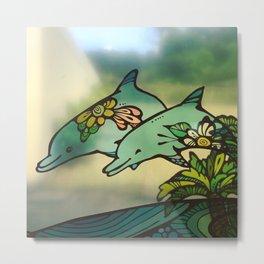 Okinawa Dolphins Metal Print